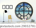 Room interior minimalist with clock window 29032781