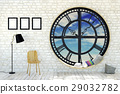Room interior minimalist with clock window 29032782