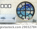 Room interior minimalist with clock window 29032784