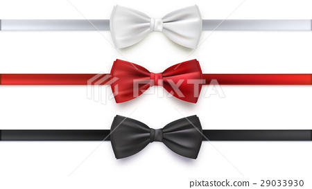 Realistic white, black and red bow tie, vector 29033930