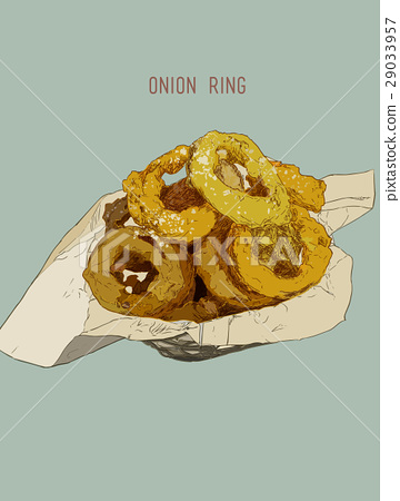 Onion rings on paper wrap in basket, vector. 29033957