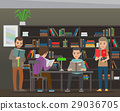 Students Reading Textbook in Library Flat Vector  29036705