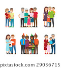 Group Portraits of Happy Families Vector Set 29036715