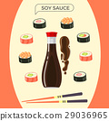 Soy Sauce Bottle with Sushi Set and Chopsticks 29036965