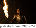 Knight with a torch and sword at night 29039254