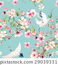 Watercolor crane with flowers vector pattern 29039331