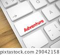 Adventure - Message on White Keyboard Key. 3D. 29042158