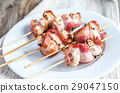 Grilled bacon skewers with chicken meat 29047150