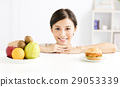 woman  choice between healthy and harmful food 29053339