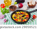 scrambled eggs, eggplant, onion and tomato 29056521