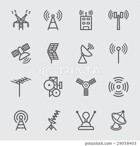 Antenna and Satellite line icon 29058403