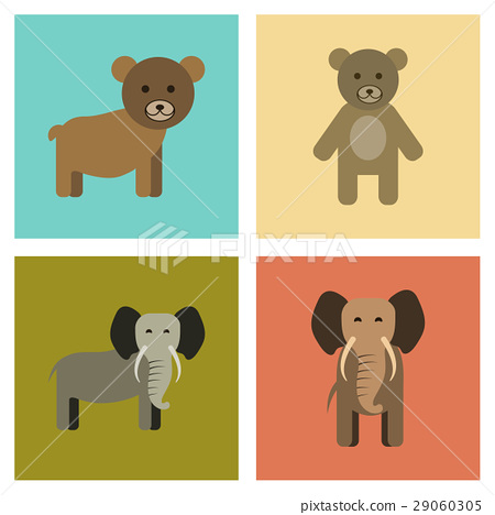 assembly flat icons nature bear elephant 29060305