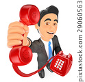 3D Businessman with a red telephone. Call concept 29060563