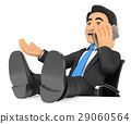 3D Businessman talking mobile phone with feet up 29060564