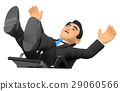 3D Businessman scared falling off his office chair 29060566