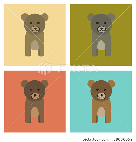 assembly flat icons nature cartoon bear 29060658