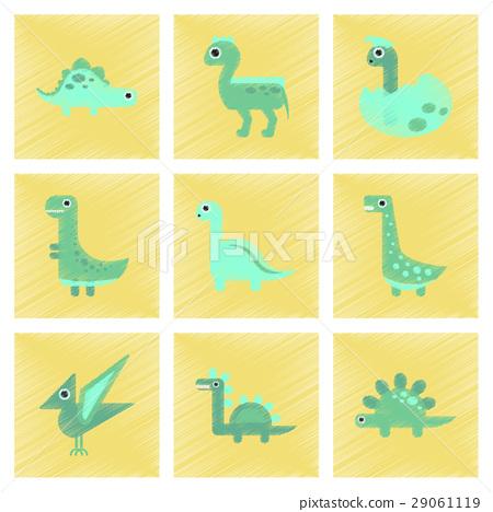 assembly flat shading style icons cartoon dinosaur 29061119
