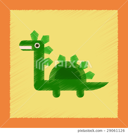flat shading style icon cartoon dinosaur 29061126