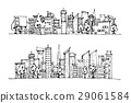 Cartoon hand drawing city. Vector on white backgro 29061584