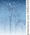 Illustration of snowfall in park. 29062569