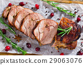delicious turkey meat roulade cut in slices 29063076