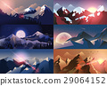 Set background mountain landscape in flat style 29064152