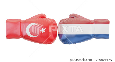 Boxing gloves with Turkey and Netherlands flags 29064475