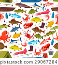 Fishes and mollusks fishing vector seamless 29067284