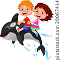 Boy and girl riding orca 29067414
