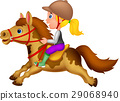 Little girl riding a pony horse 29068940