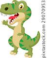 Cute tyrannosaurus cartoon waving hand 29070953