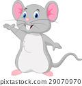 Cute mouse cartoon waving 29070970
