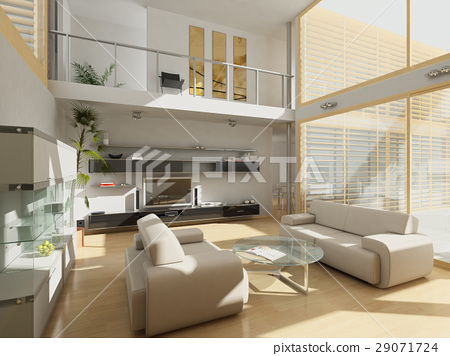 Modern livingroom with large windows. 29071724