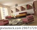 Open space modern bedroom livingroom. 29071729