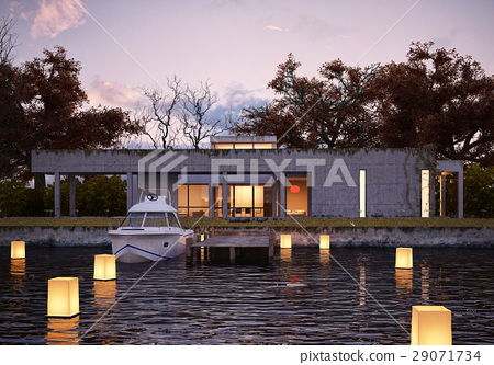Luxury modern house on water at sunset. 29071734