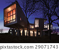Very modern stylish house made of wood, stone and glass. 29071743
