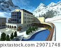 Hotel in mountain with snow and a pool. 29071748