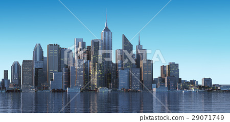 Cityscape generic with modern buildings and skyscrapers on water. 29071749