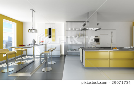 Modern white and yellow kitchen. 29071754