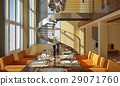 Modern dining room with wide windows and spiral staircase. 29071760