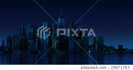 Cityscape generic with modern buildings and skyscrapers on water. Night time version. 29071763