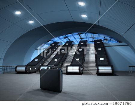 Isolated business suitcase left at the bottom of a metro, or airport escalator. Potential danger. 29071766