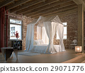 Luxury loft bedroom, with four poster bed. 29071776