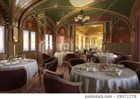 Old antique restaurant interior, with decorations. 29071778