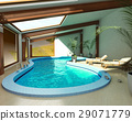 Indoor spa pool with chairs and plants. 29071779