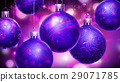 Christmass purple abstract background with big decorated blue/purple balls in foreground. 29071785