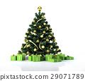 Christmas tree with golden balls and decoration. Below it there are several gifts packages, all green with gold ribbons. 29071789