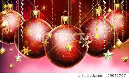 Christmass abstract background with big decorated balls in foreground. 29071797