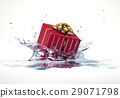 Decorated gift falling into water splashing. 29071798