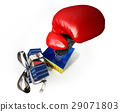 Boxing glove coming out from a gift box 29071803